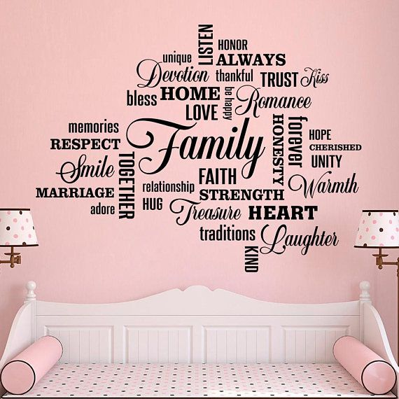 Family Lettering Wall Decal Family Quote Worlds Wall Stickers ...