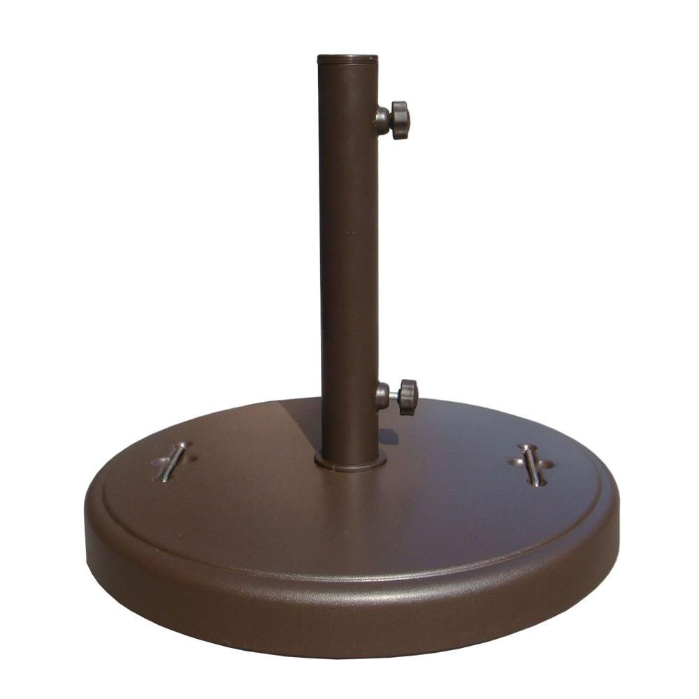 Hampton Bay 86 Lbs Brown Patio Umbrella Base With Hidden Wheels Dwth37u B The Home Depot Patio Umbrella Stand Patio Umbrella Bases Outdoor Umbrella Stand