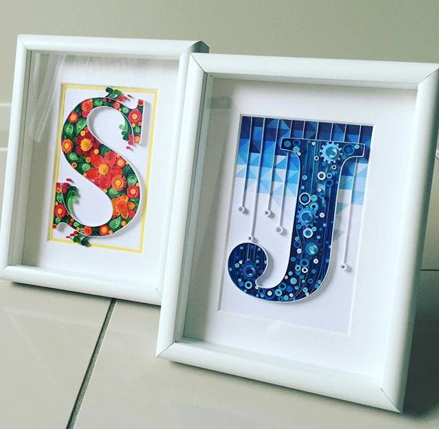 S j quilled initials in frames names initials for Big quilling designs
