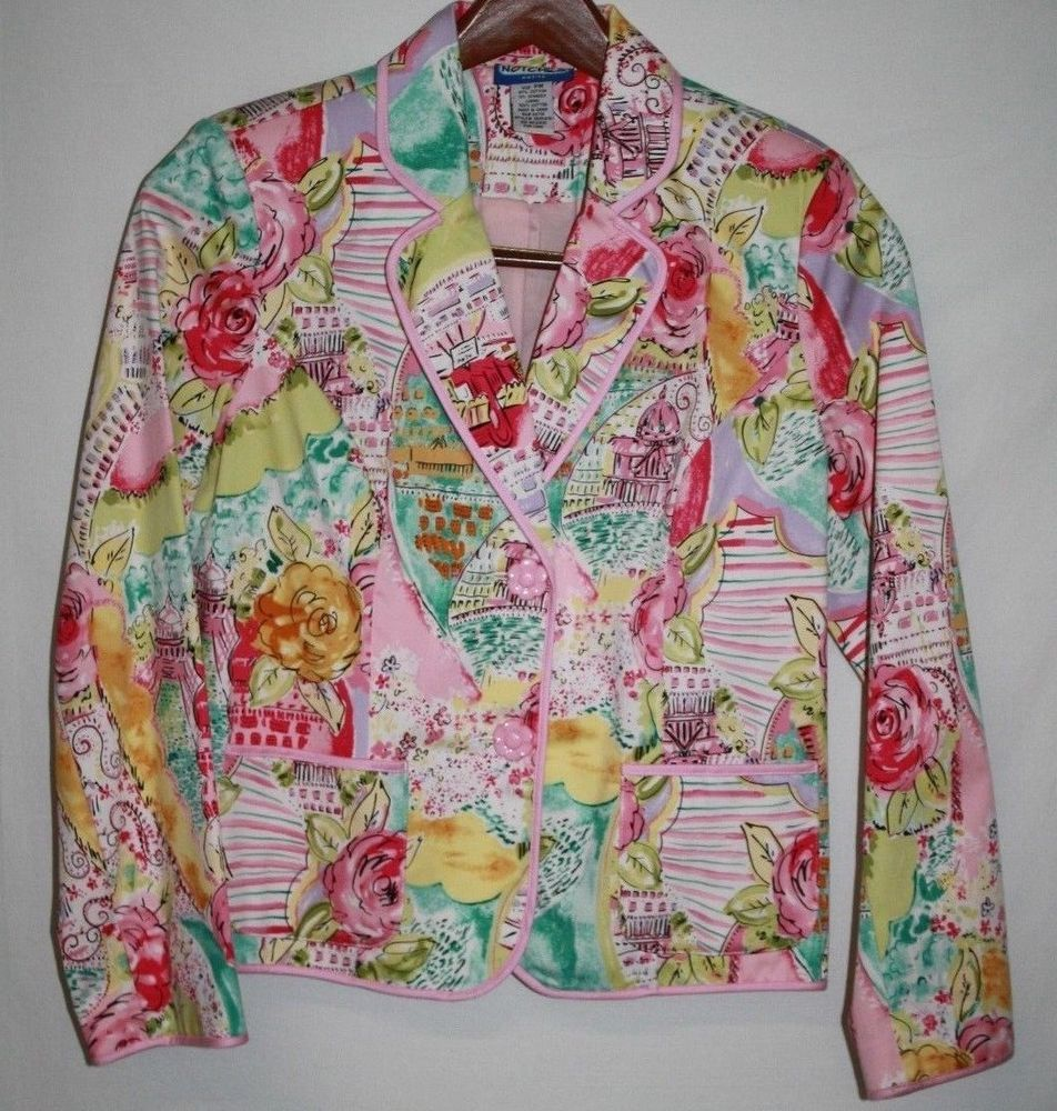 Notches Petite MEDIUM Cropped Jacket Pink Floral Career