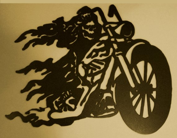 Flame Motorcycle Metal Wall Art