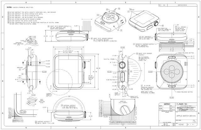 Detailed 38mm and 42mm Apple Watch Schematics [Images