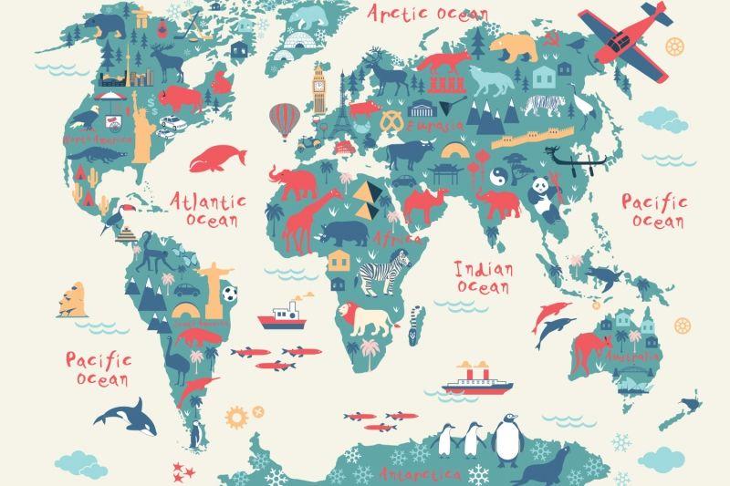 Explorer kids world map mural muralswallpaper wallpaper explorer kids world map mural wallpaper gumiabroncs Choice Image