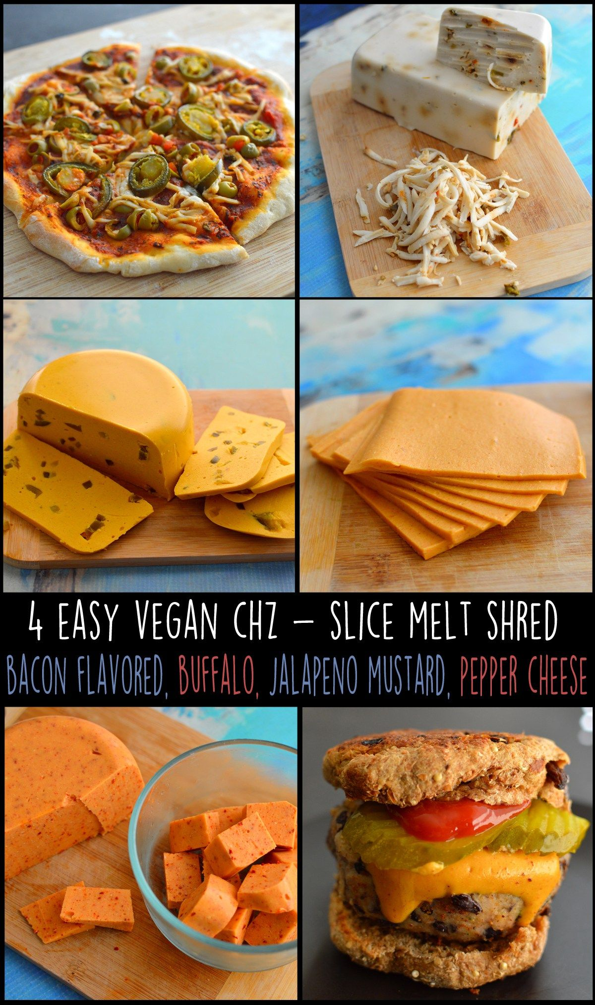 4 Vegan Cheese Recipes Sliced Melts Stretchy Shredded Hard Cheese Dairy Free Vegan Vegan Cheese Recipes Cheese Stuffed Peppers Nutritional Yeast Recipes