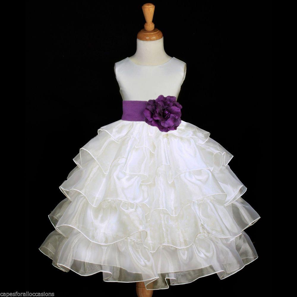 Ivory tiered organza plum purple sash flower girl dress for Purple and ivory wedding dresses