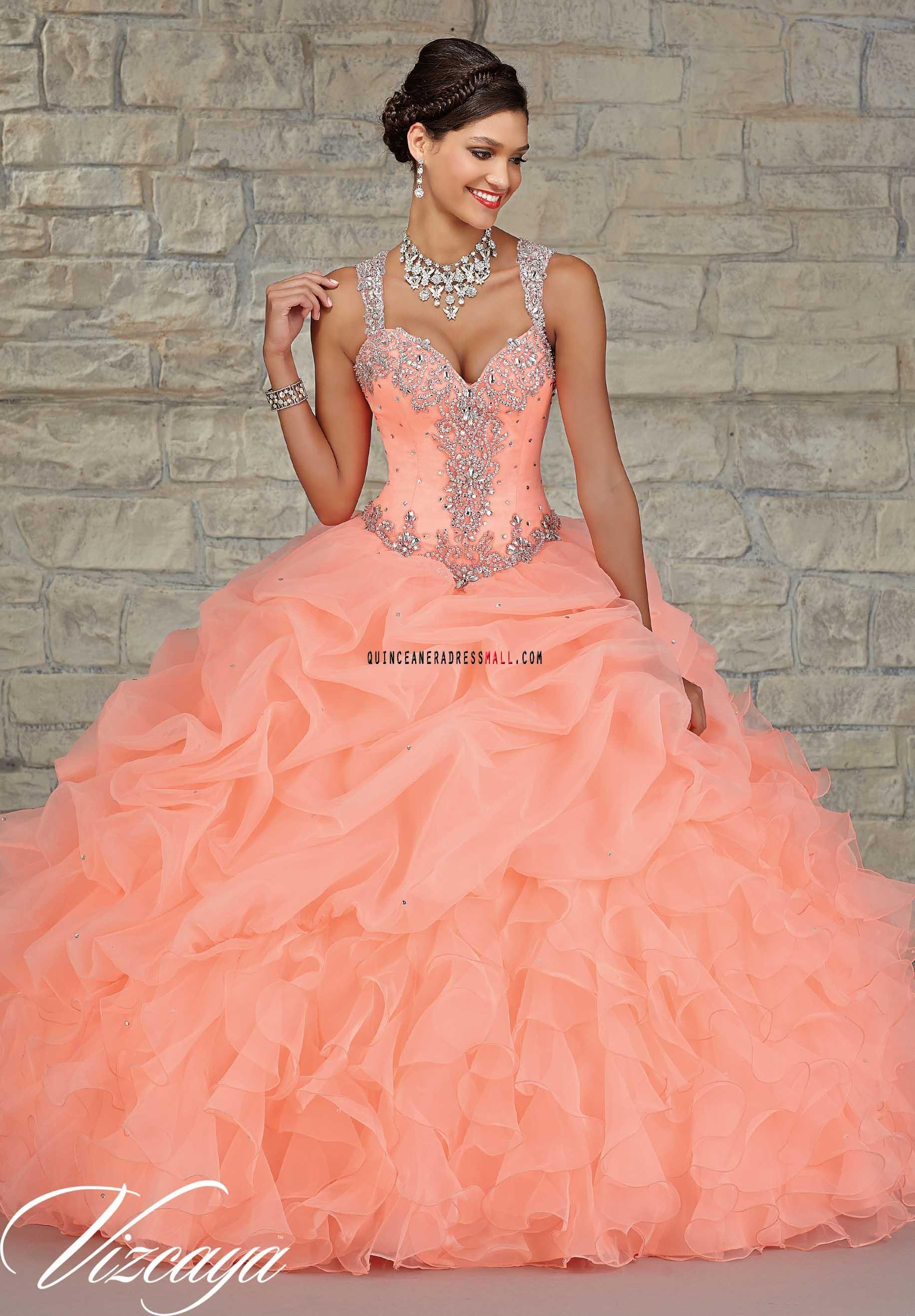 381f36619 Peach beaded sweet 15 dress 2016 new organza and taffeta quinceanera ...