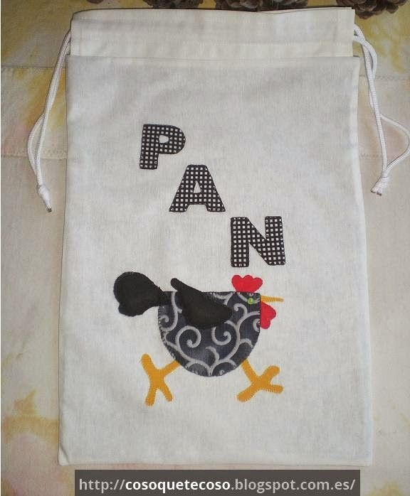 Bolsas para el pan, modelo gallina | Bolsas para pan | Pinterest ...