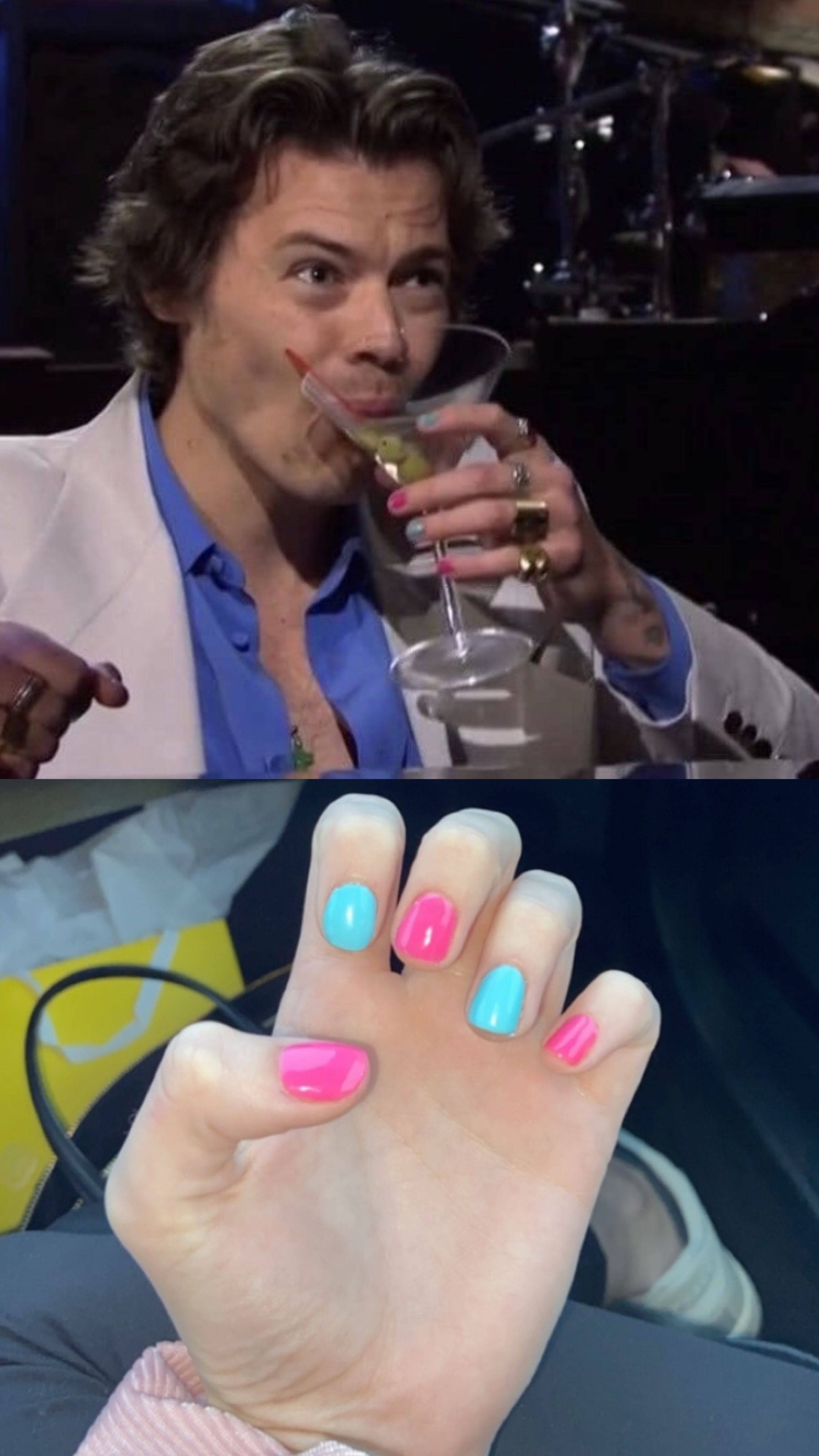 Harry Styles Nails On Snl Snl New Girl Jim Halpert New Girl Quotes Stephen Colbert Schmidt Adventure Time Geek In 2020 Fashion Nails Harry Styles Tattoos Harry Styles