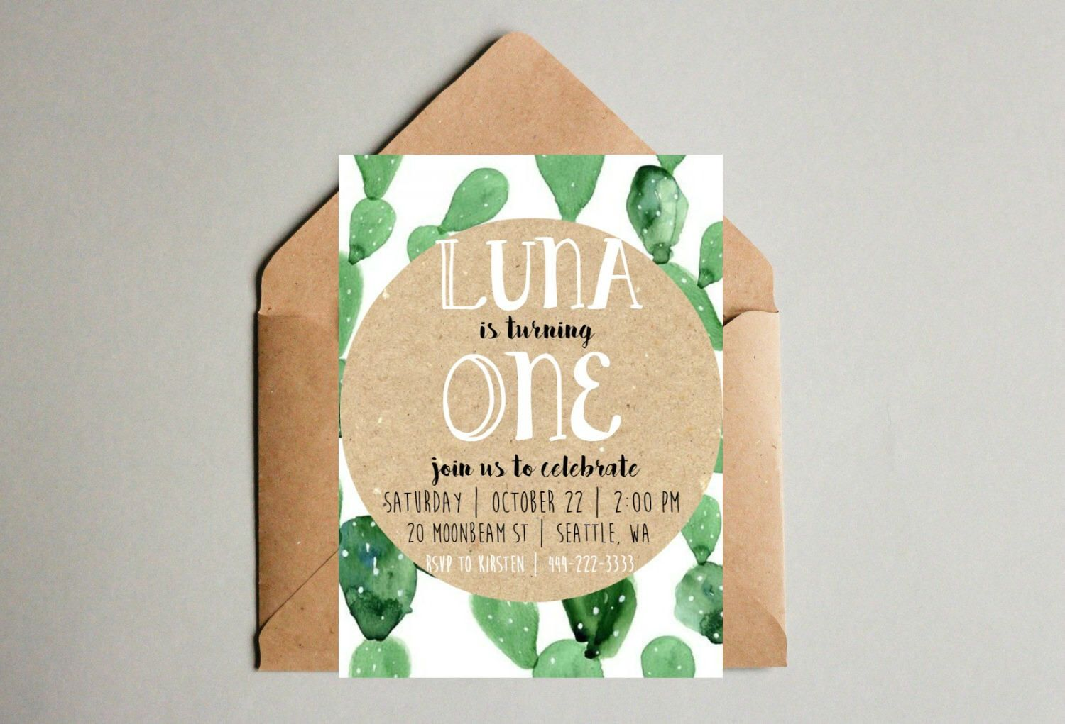 Boho Cactus Birthday Invitations- print yourself- First Birthday ...