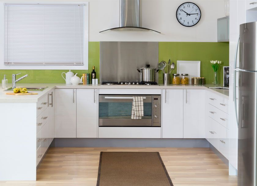 get the look gloss white thermoformed doors in modern profile with frosted glass feature doors on kaboodle kitchen design id=78721