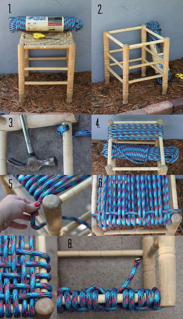 Cómo trasformar un taburete viejo en nuevo con cuerdas de nylon paso ...