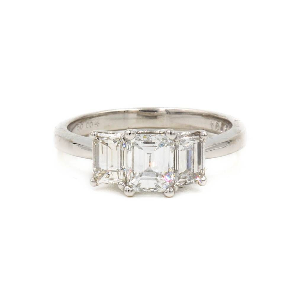 Platinum Three Stone Diamond Emerald-Cut Engagement Ring