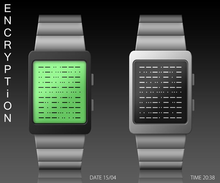 Encryption watch concept design: sent into the tokyoflash.com blog by a fan.