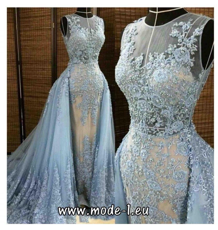 Brautkleid in Hellblau mit Blumenstick  Abendkleid, Abendkleid