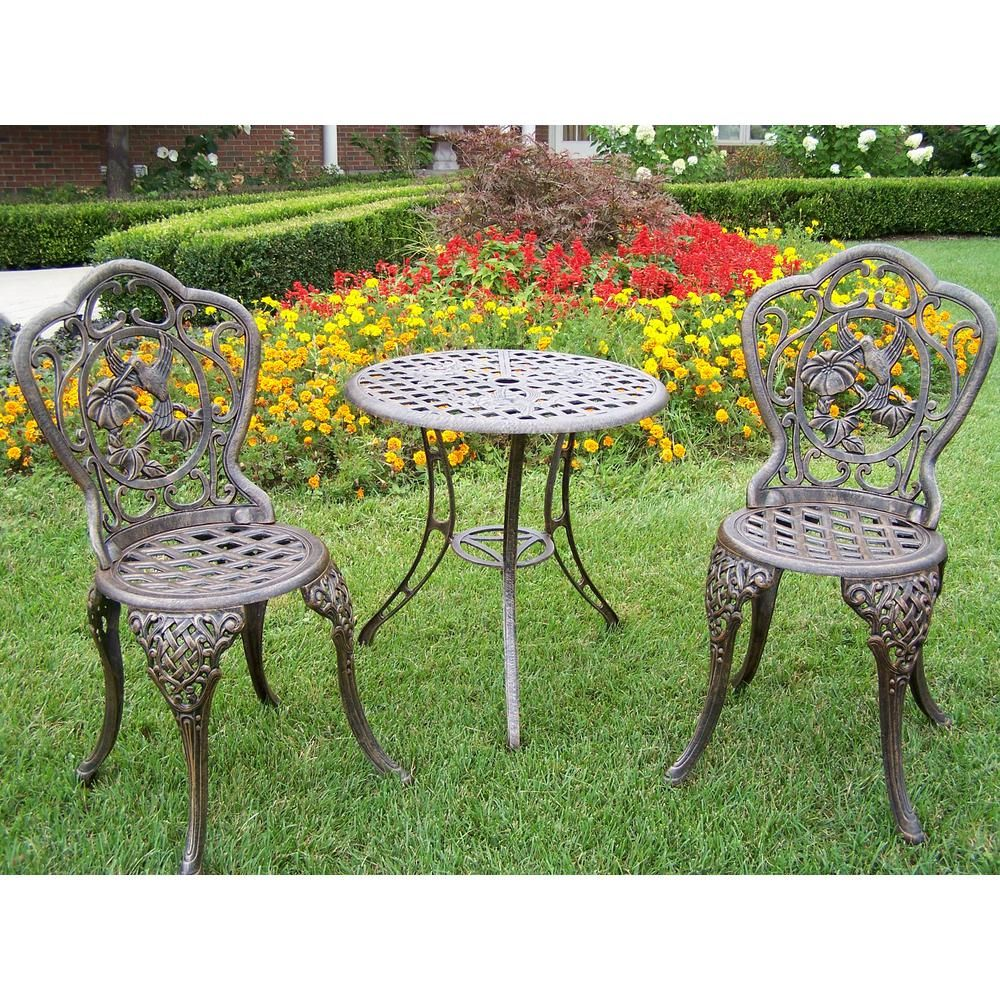 Oakland Living Hummingbird 3 Piece Cast Aluminum Bistro Set With