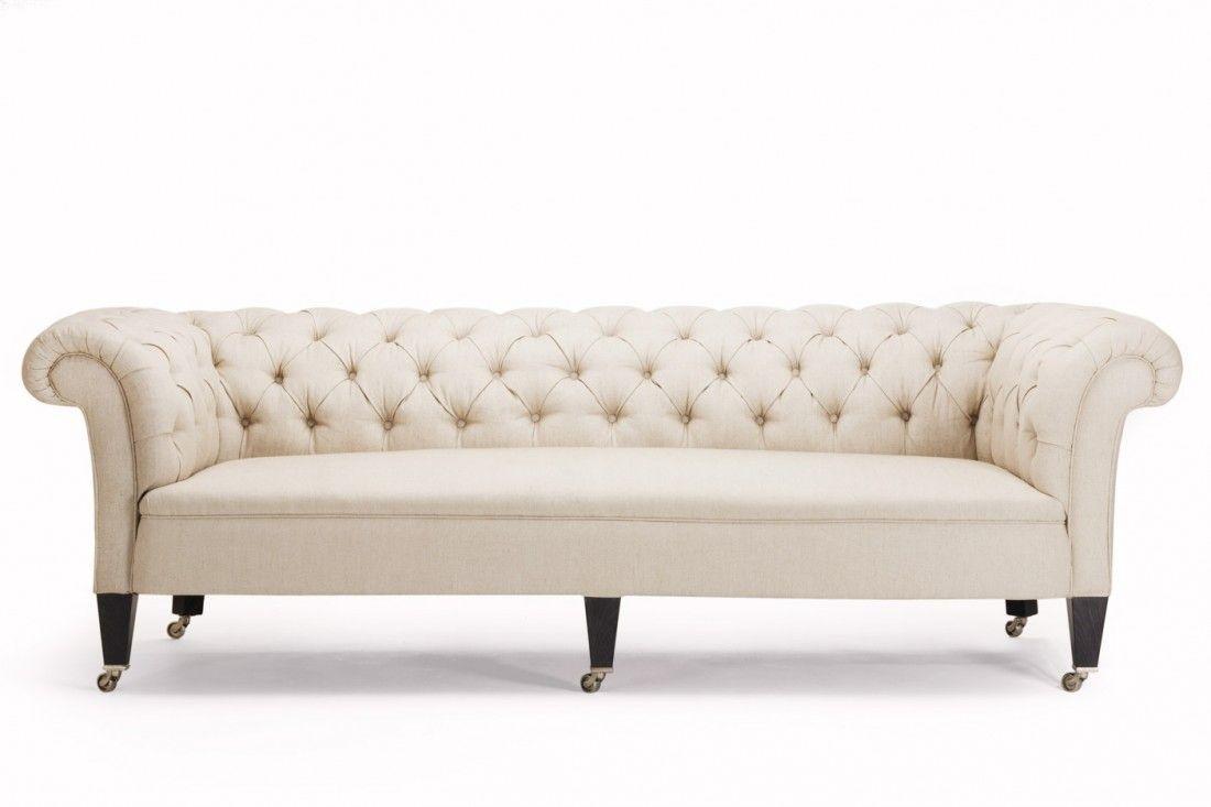 Chesterfield Sofa Com Bracos Arredondados Na Mesma Altura Do