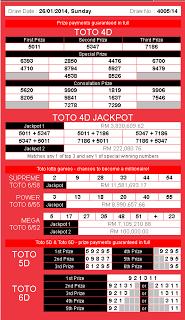 4D Check for Sports Toto,Pan Malaysia 1+3D, Damacai,Magnum