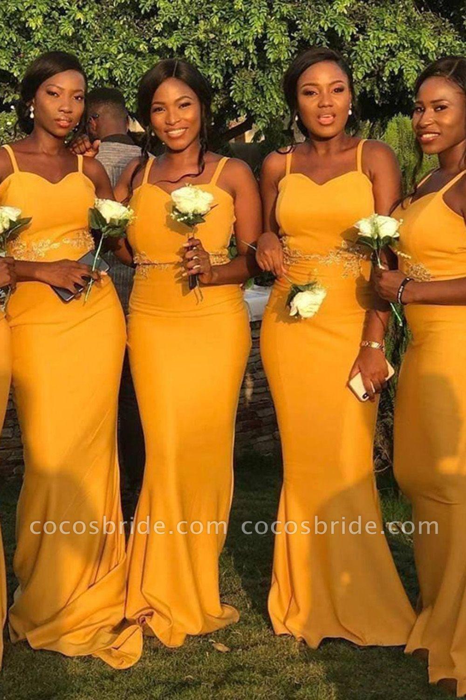 Graceful Floor Length Sheath Bridesmaid Dress Yellow Bridesmaid Dresses African Bridesmaid Dresses Fitted Bridesmaid Dresses