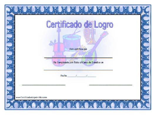 Certificado de Logro en Música para imprimir los certificados ...