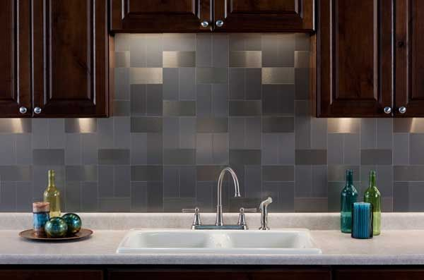 Aspect 3 X6 Brushed Stainless Long Grain Metal Backsplash Tile Kit Dream Kitchen Pinterest