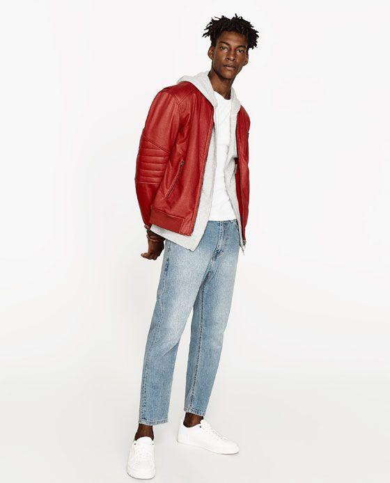 Uomo Pelle Giacca Di Fq01p Zara Rossa Essence 8Pwn0Ok