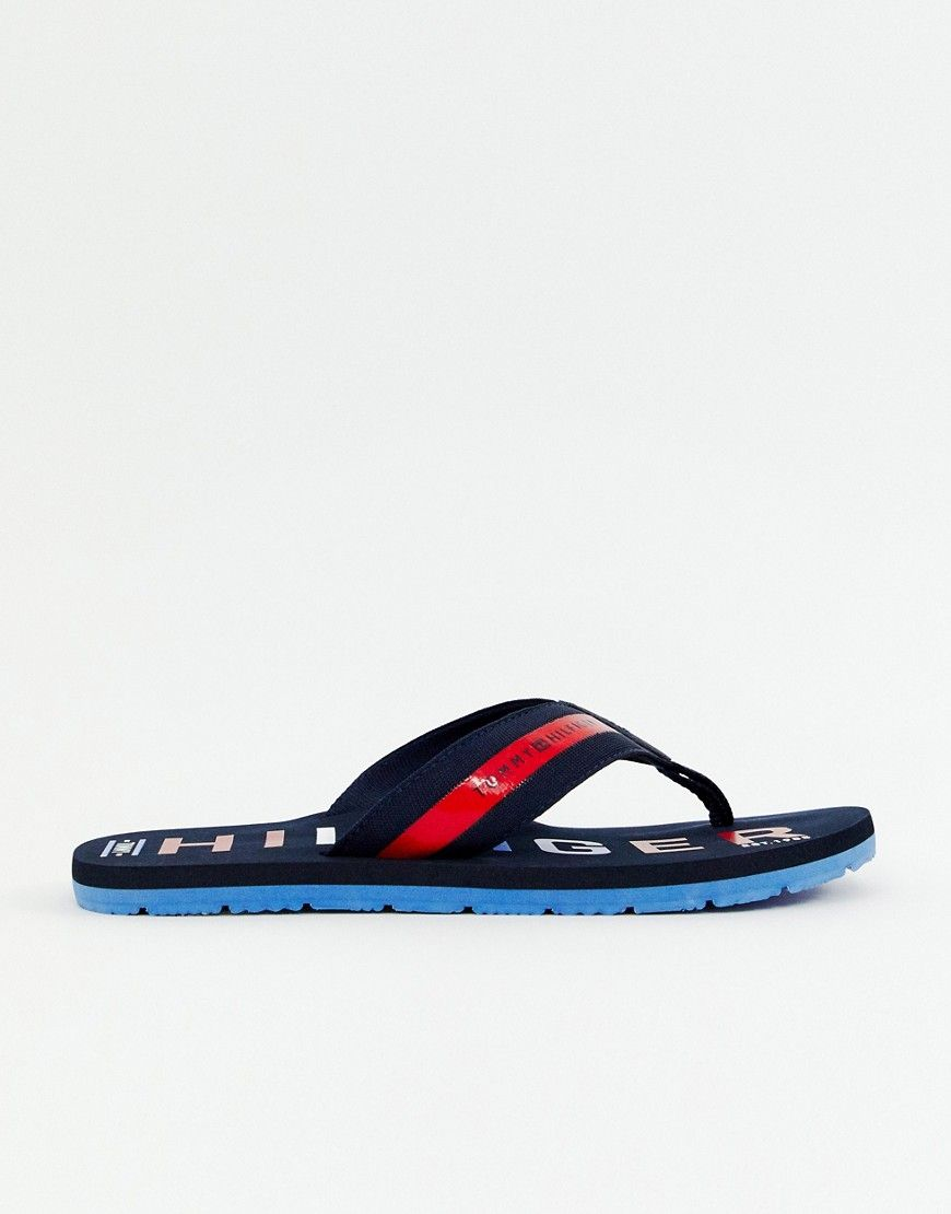 244527f69399 TOMMY HILFIGER BOLD LOGO BEACH WEBBING FLIP FLOP IN NAVY - NAVY.   tommyhilfiger  shoes
