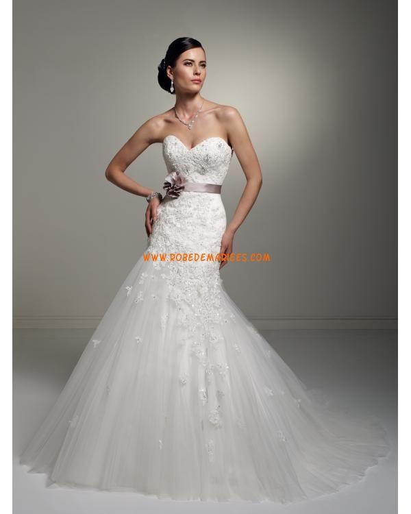 Robe de mariage de luxe dentelle avec ruban