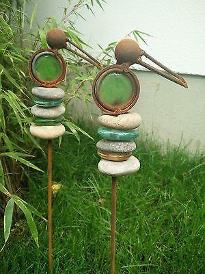 2 st gartenstecker beetstecker glasdeko vogel edelrost for Gartendeko metall vogel
