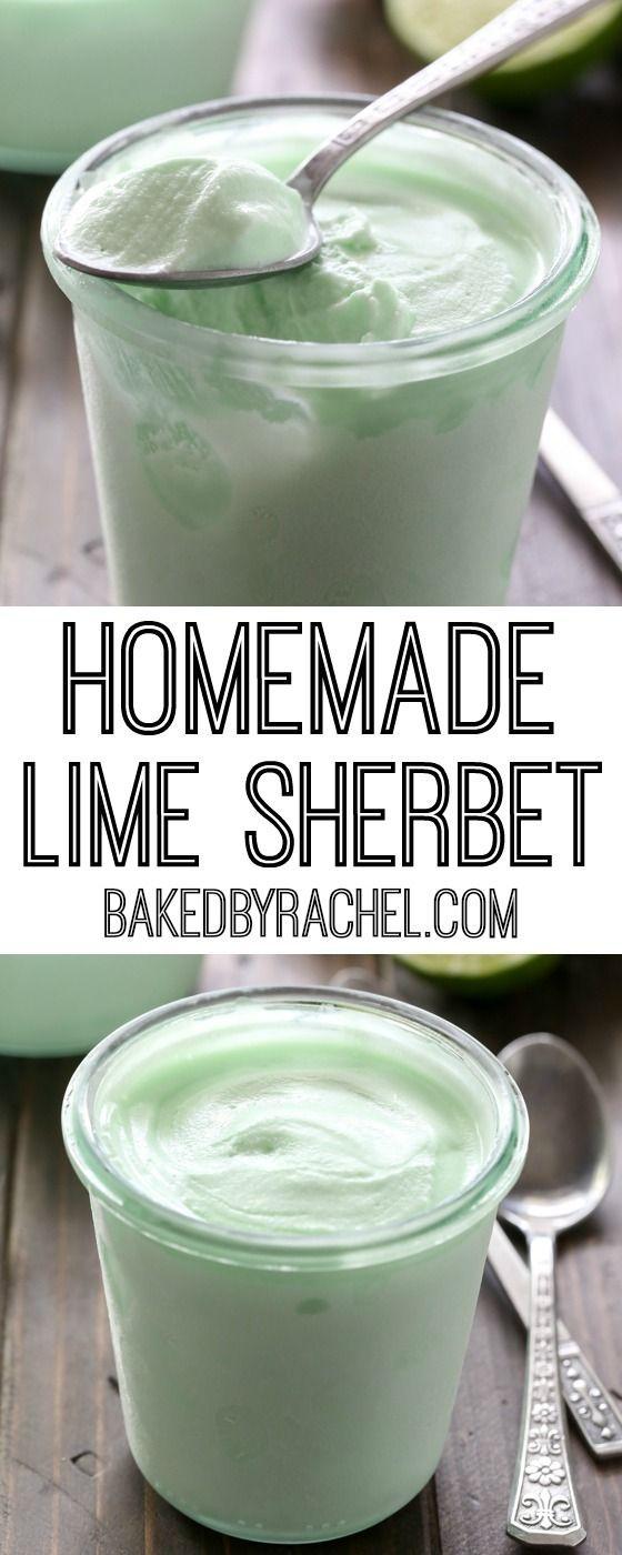 Creamy homemade lime sherbet recipe from @bakedbyrachel