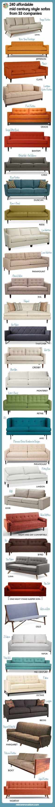 240 Affordable Mid Century Modern Style Sofas From 33 Companies  ~ Affordable Mid Century Sofa