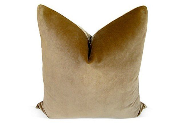 "Camel   Velvet  Pillow, 24""x24"""