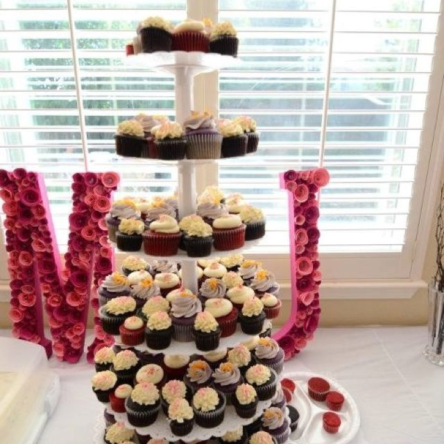 Cupcake tower with babies initials