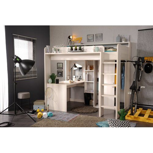 Hochbett Mit Leiter Schreibtisch Kleiderschrank Und Regal 90 X 200