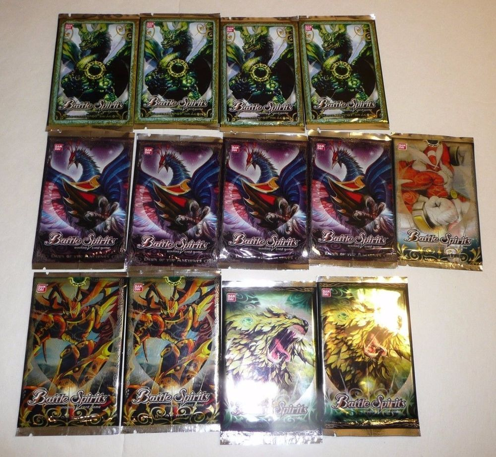 13 Booster Packs Battle Spirits Trading Card Game Lot Scars Dragons ...