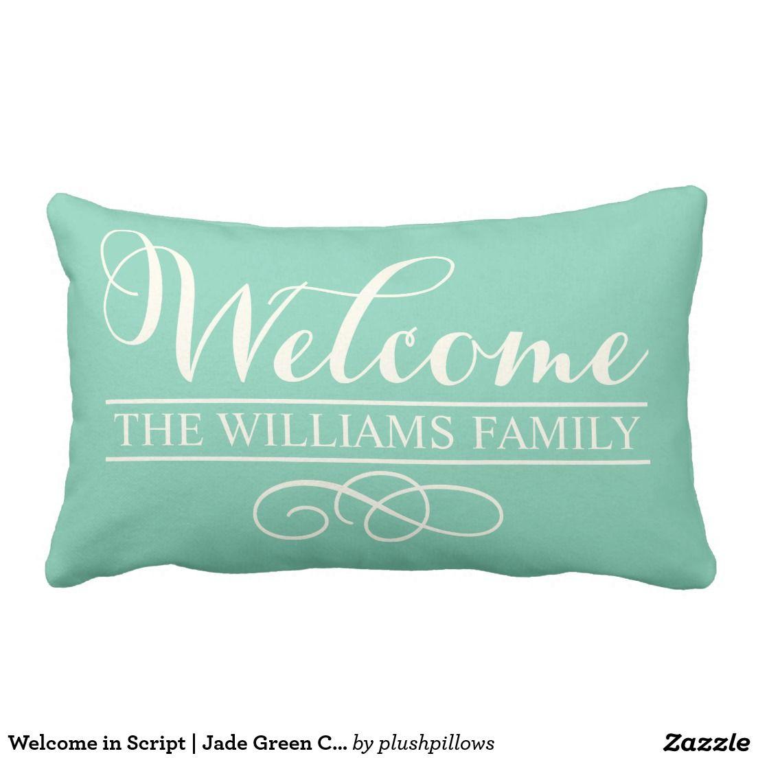 Welcome in script jade green custom decorative green throw