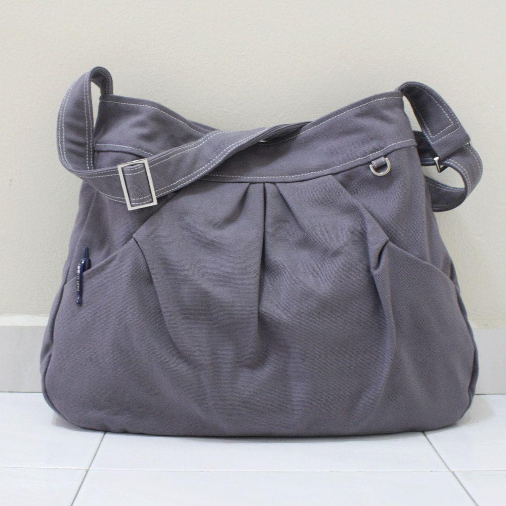 67e47a5f065 Anniversary Sale - Gray Canvas Women Single Strap, shoulder bag, Cross body Sling  bag, Handbag - Pleated Hoodie Market Bag.  45.00, via Etsy.