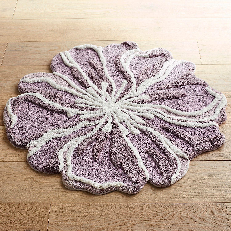 Flower Shaped 3 Round Lilac Bath Rug Flower Shape Rugs