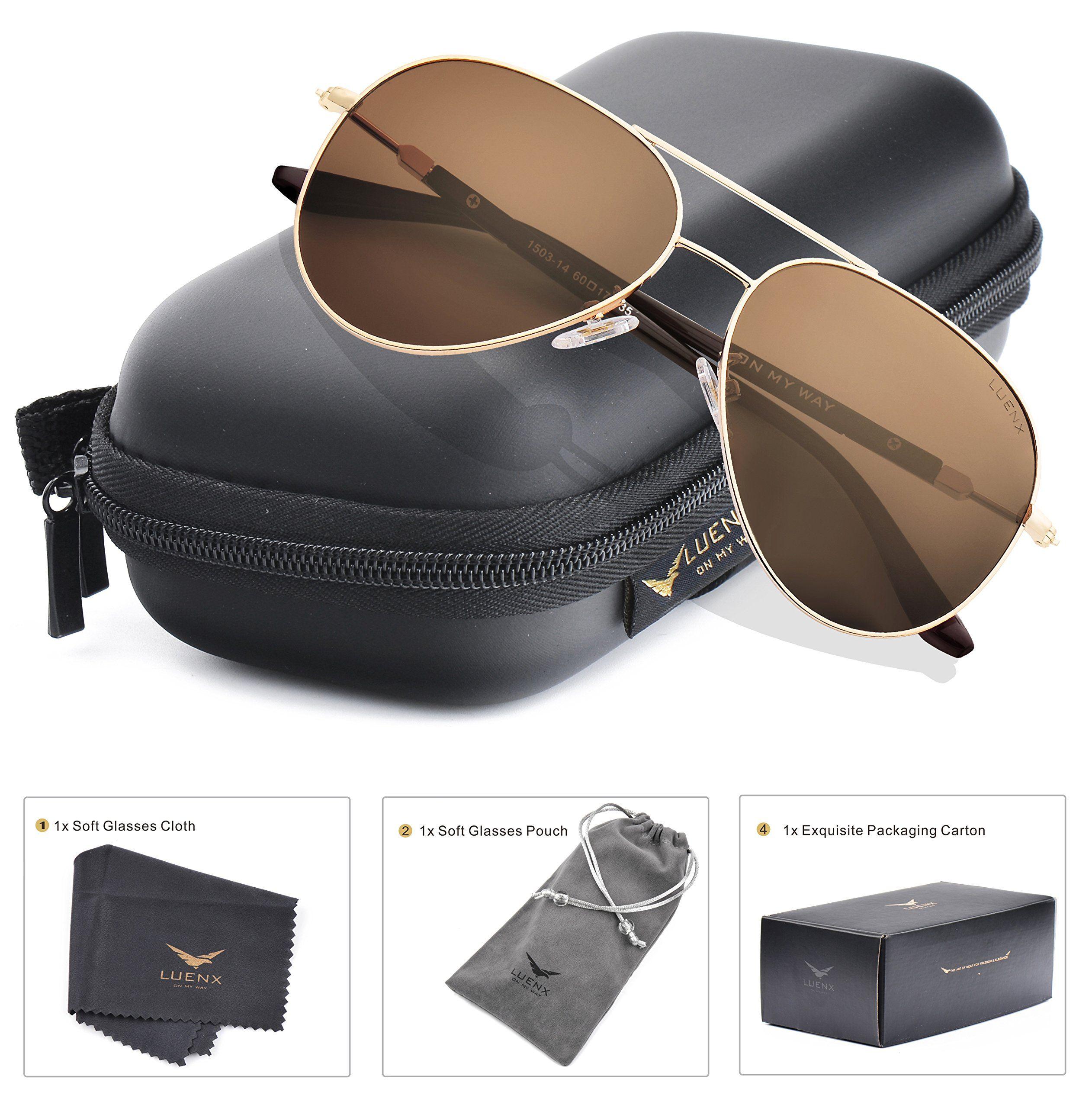 LUENX Aviator Sunglasses Mens Womens Polarized Brown Lens Gold Metal ...