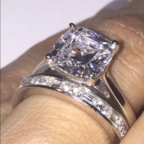 Epiphany Diamonique Bridal Ring Set Simulated Diamond Rings Engagement Elegant Wedding Rings Diamond Bridal Ring Sets