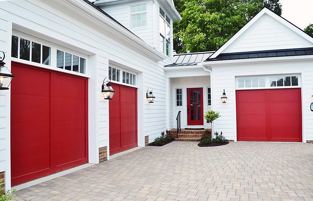Custom Design And Field Painted Bright Red Overlay Garage Doors By