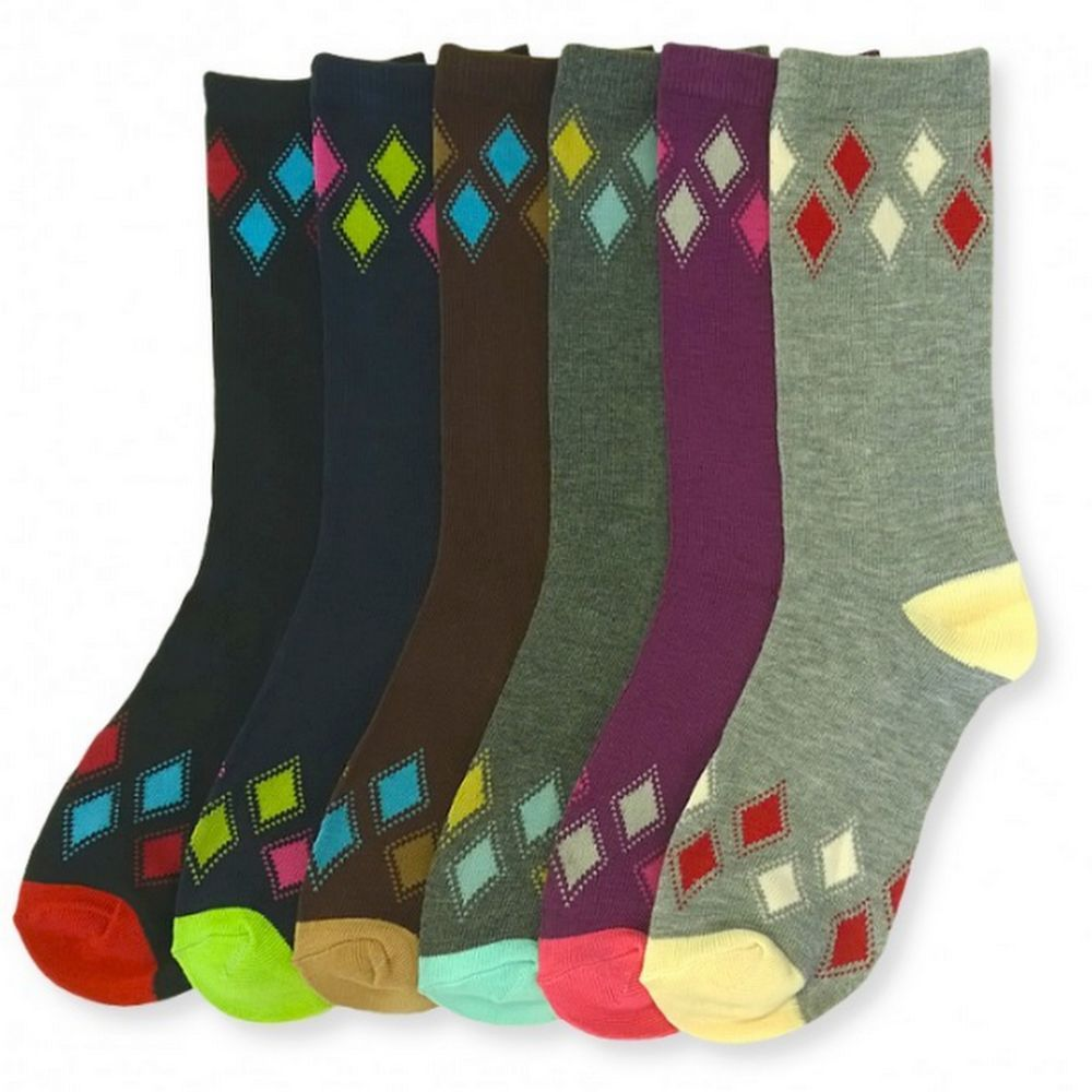 Wholesale  pattern ladies crew socks 9-11 3 pr lot