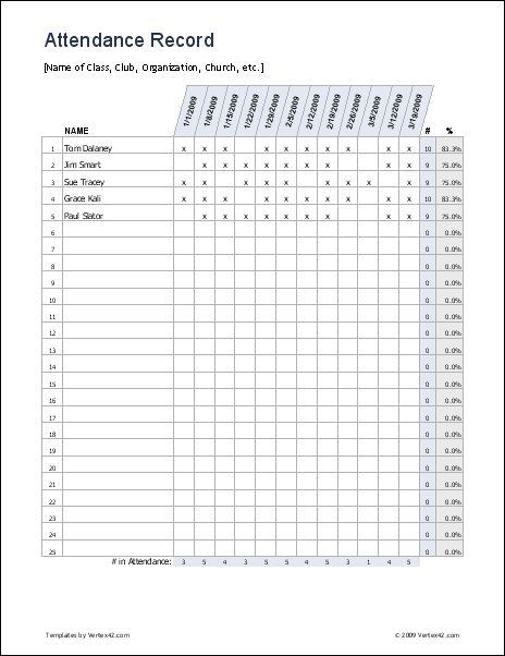 Free excel Attendance Record/ attendance sheet -it is easy to keep ...