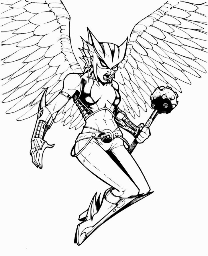 Hawkgirl Coloring Pages Coloring Pages Pinterest Hawkgirl