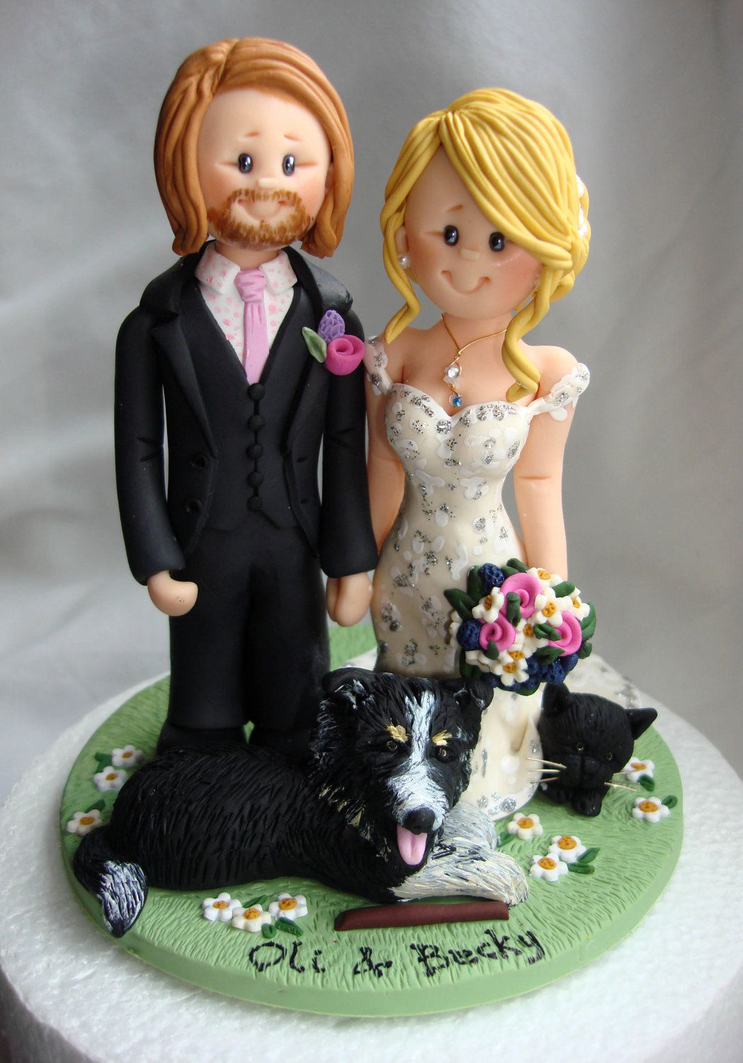 Personalised bride and groom wedding cake topper via etsy