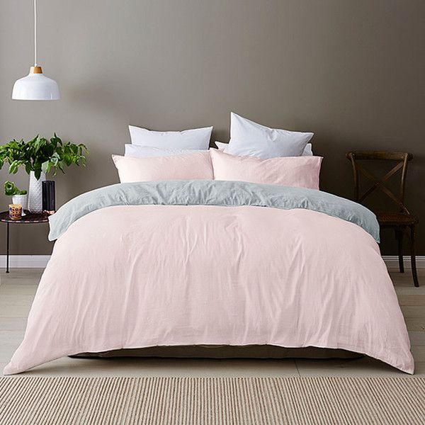 Linen Cotton Quilt Cover Set Pink Target Australia ($59) ❤ liked on Polyvore featuring home, bed & bath, bedding, quilts, pink pillowcase, pink pillow cases and pink bedding