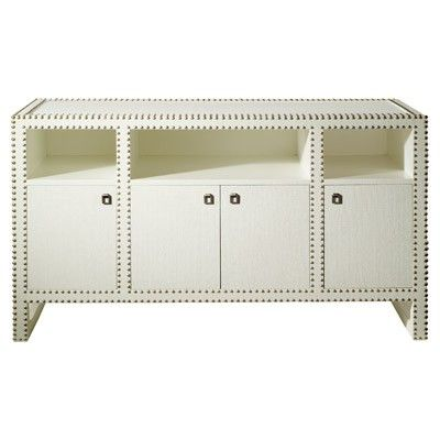 Exceptional Grasscloth Nailhead Console   Maybe