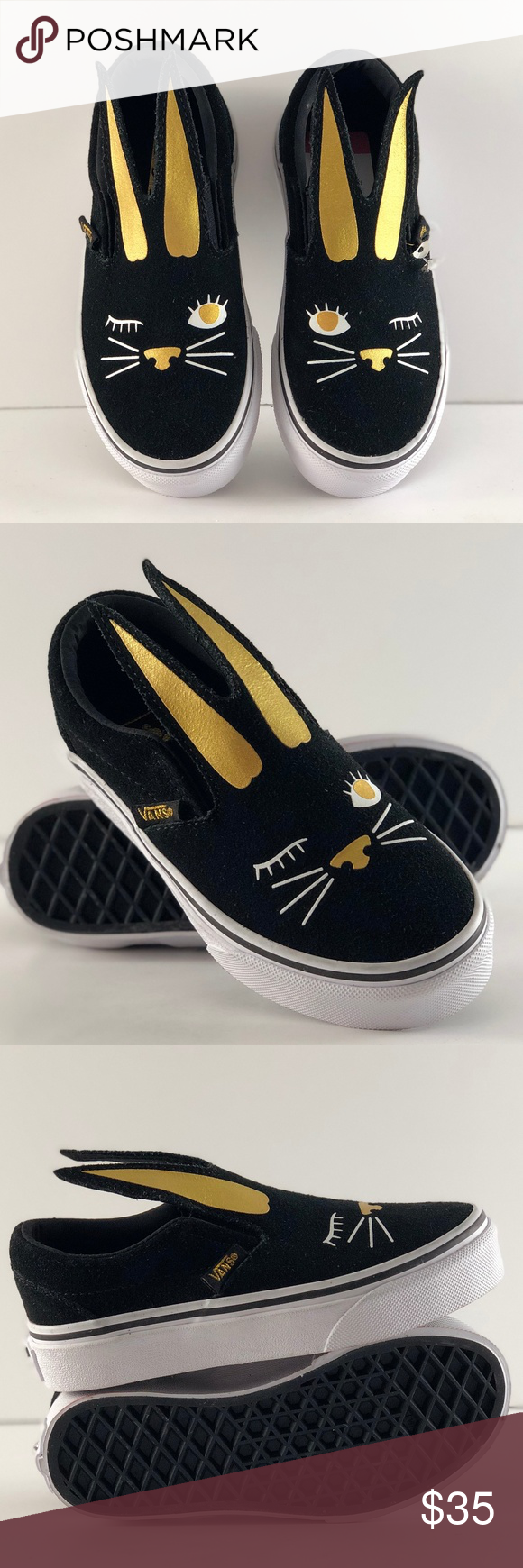 56ae7de5f Vans SLIP ON Bunny Black Gold Toddler Shoes NWT