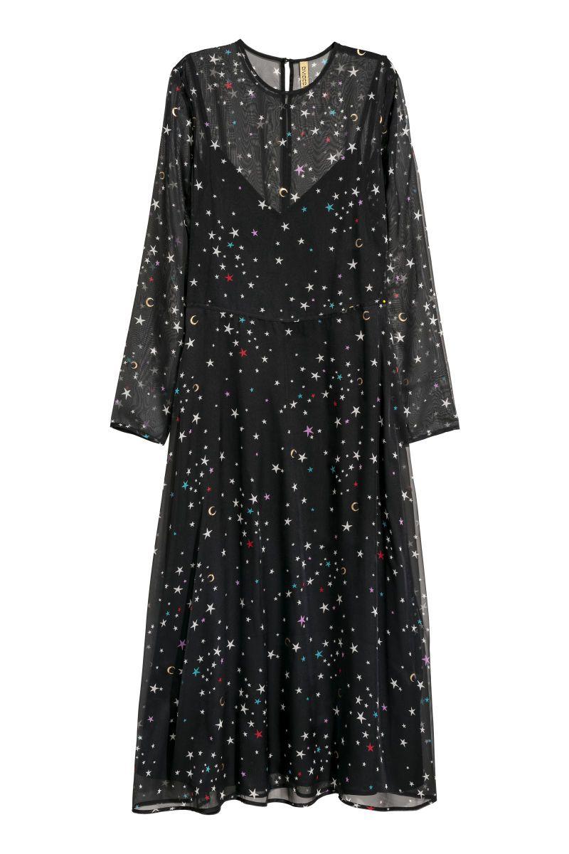 Hum patterned chiffon dress black star ankle length and chiffon dress
