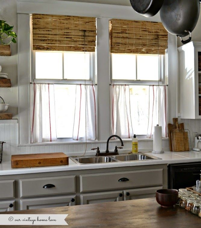 Ikea Dishtowel Cafe Curtains Our Vintage Home Love Kitchen Updates Farmhouse Style Kitchen Farmhouse Style