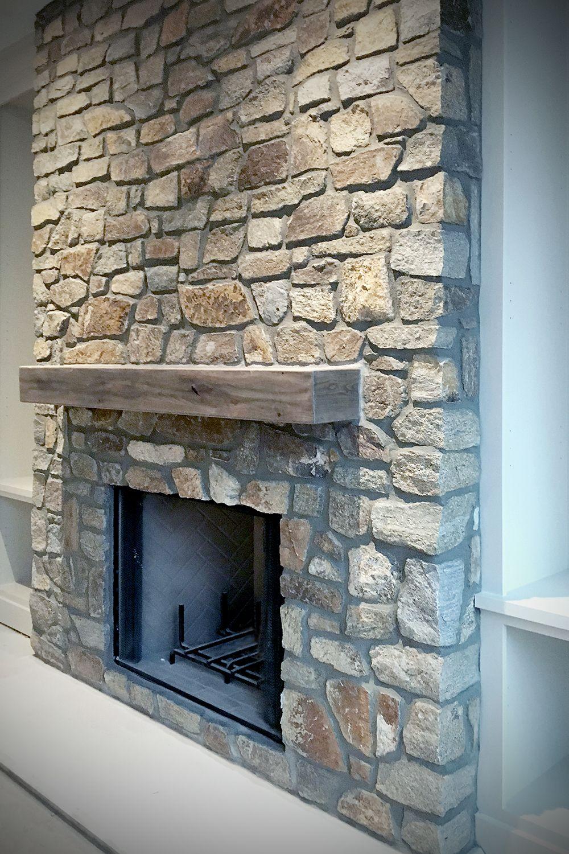 Field Ledge Stone Fireplace Veneer Rustic Wood Mantel Buechel